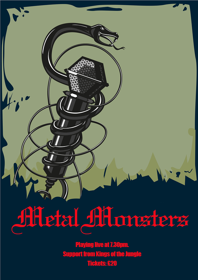 Font Rock music poster with microphone and snake. Tattoo style illustartion